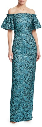 Theia Floral Jacquard Off-Shoulder Gown