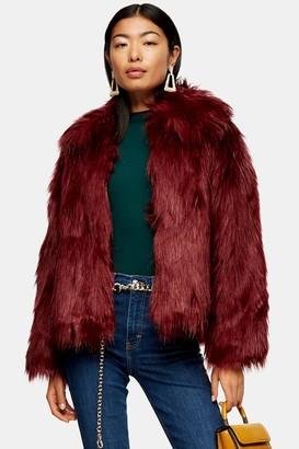 Topshop Oxblood Luxe Faux Fur Coat