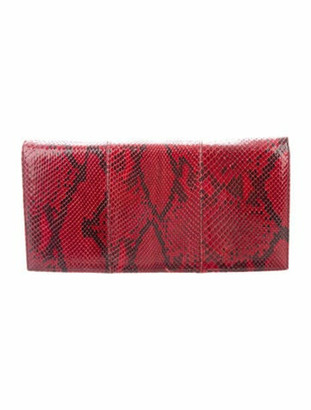 Harrods Python Flap Clutch Red