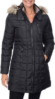 FLEETSTREET COLLECTION Fleet Street Box Quilt Faux-Down Puffer Jacket with Faux-Fur Hood
