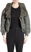 Junya Watanabe Women's Nylon Twill Bomber Jacket With Faux Shearling Trim