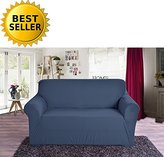 Elegant Comfort Collection Luxury Soft Furniture Jersey STRETCH SLIPCOVER, Sofa Navy Blue