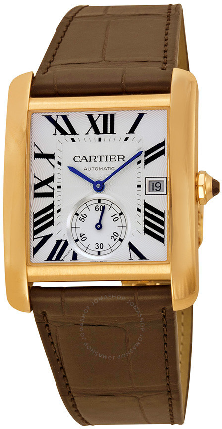 Cartier Tank MC Mechanical Silver Dial Brown Leather Strap Men's Watch