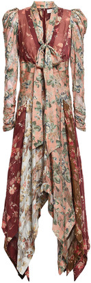 Zimmermann Asymmetric Floral-print Voile And Silk-blend Twill Dress