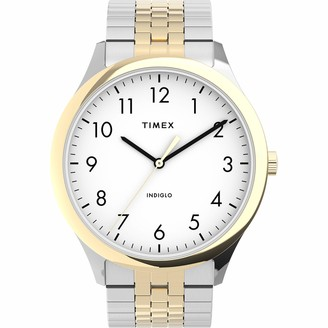 Timex Men's Modern Easy Reader 40mm Watch Two-Tone Case White Dial with Expansion Band
