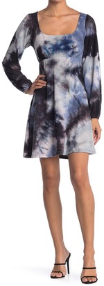 Kenedik Ribbed Knit Square Neck Tie Dye Dress