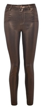 Dorothy Perkins Womens Vila Brown Metallic Trousers, Brown