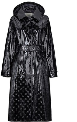 Fendi Karligraphy-Embossed Patent Leather Trench Coat