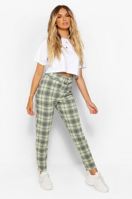 boohoo Checked Belted Cigarette Trousers