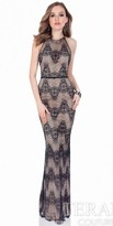 Terani Couture Crystal Embellished Lace Evening Dress