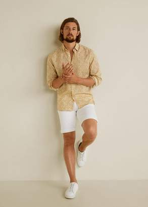MANGO MAN - Hawaiian print shirt beige - XS - Men