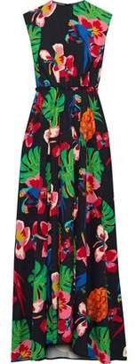 Valentino Pleated Two-tone Silk Crepe De Chine Gown