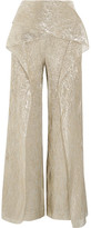 Roland Mouret Caldwell Cropped Draped Silk-blend Lamé Wide-leg Pants - Gold