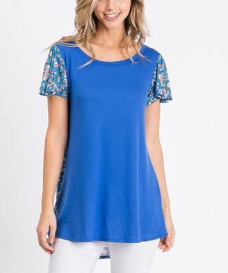 Cool Melon Women's Tunics Royal - Royal Blue Scarf Print-Contrast Butterfly-Sleeve Tunic - Women & Plus