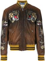 Gucci tiger intarsia bomber jacket - men - Silk/Cotton/Buffalo Leather/Viscose - 50