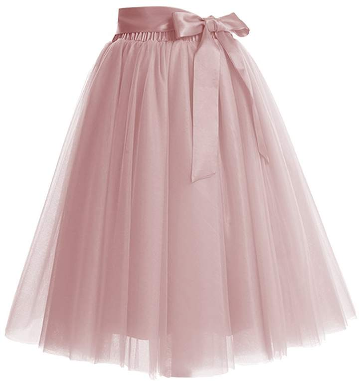 CoutureBridal Women's 4 Layers Elastic Waistband A Line Tutu Tulle Midi Princess Party Skirt With Bow