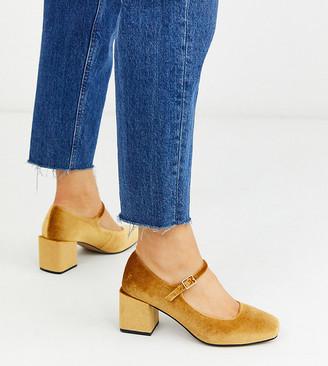 Asos Design DESIGN Wide Fit Willing mary-jane block heels in ochre velvet-Yellow