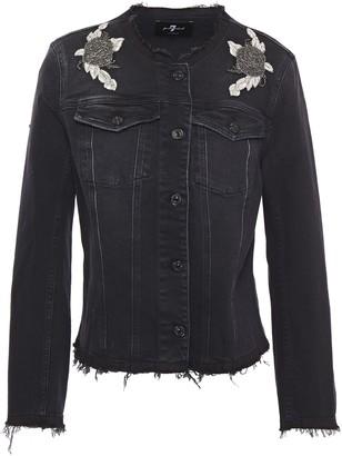 7 For All Mankind Frayed Appliqued Embellished Denim Jacket