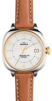 Shinola 36mm Gomelsky Leather Strap Watch, Pearlescent White/Bourbon