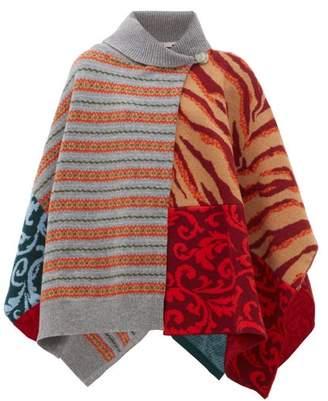 Stella McCartney Patchwork-knitted Wool Poncho - Womens - Multi
