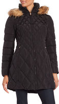Jessica Simpson Faux Fur Trimmed Quilted Walking Coat