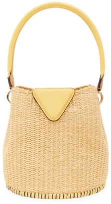 Danse Lente Extra-Small Josh Leather-Trimmed Raffia Bucket Bag