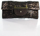 R & Y Augousti R&Y Augousti Brown Embossed Leather Stingray Clutch Handbag