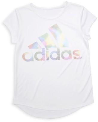 adidas Girl's Climalite Rainbow-Foil Interlock Tee