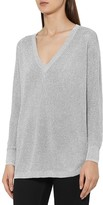 Reiss Bless Metallic V-Neck Sweater