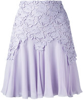Giambattista Valli lace trim pleated skirt - women - Silk/Cotton/Polyester/Polyamide - 42