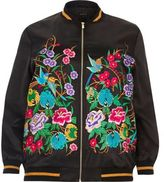 River Island Womens Plus black embroidered bomber jacket
