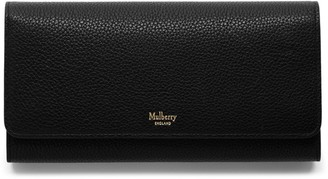 Mulberry Continental Wallet Black Small Classic Grain