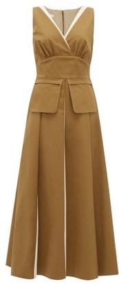 Carl Kapp - Coco De Mer Pleated Cotton-twill Dress - Brown White