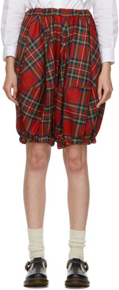 COMME DES GARÇONS GIRL Red Tartan Cropped Trousers