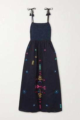 Figue Azalea Embroidered Cotton Midi Dress - Navy
