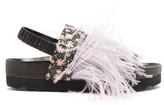 Fabrizio Viti X La Double J - Berkley Feather-trimmed Floral Canvas Flatforms - Womens - Pink Multi