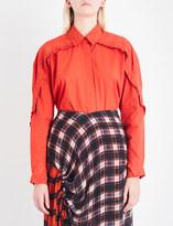 Preen Line Kenzie ruffled cotton-poplin shirt