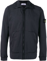 Stone Island arm patch zipped hoodie - men - Cotton/Spandex/Elastane - L