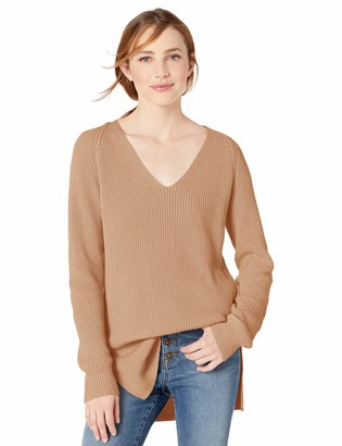 Goodthreads Amazon Brand Women's Cotton Half-Cardigan Stitch Deep V-Neck Sweater