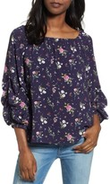 Halogen Petite Women's Gathered Sleeve Woven Top