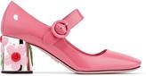 Prada Embellished Patent-leather Pumps - Pink