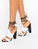 Missguided Tie Ankle Strap Block Heel
