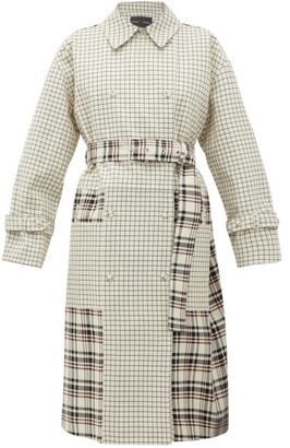 Proenza Schouler Double-breasted Checked Twill Trench Coat - Womens - Cream Multi
