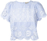 Sea eyelet fabric striped blouse - women - Cotton - 8