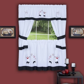 Achim Gourmet Chef Embellished Cottage Kitchen Curtain Set, 58x36 and 58x36
