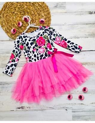 Mia Belle Baby Animal Print Rose Long Sleeve Tutu Skirt Dress with Bow (Toddler & Little Girls)