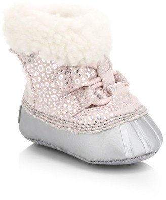 Sorel Baby Girl's Caribootie II Metallic Leopard Suede Shearling-Lined Slippers