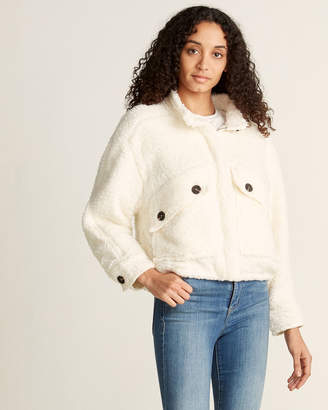 Lush Off White Teddy Collar Jacket