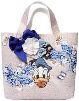 MonnaLisa Donald Duck Woven Printed Satin Tote Bag