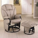 Coaster Home Furnishings Coaster Knitted Pillow Style Leatherette Swivel Glider Rocking Chair w/Ottoman